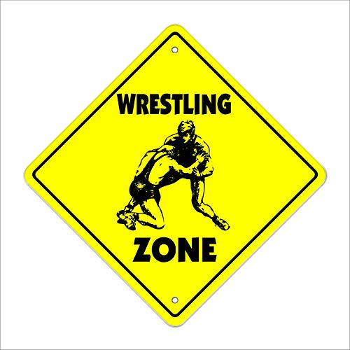 Wrestling Crossing Decal Zone Xing Sport Wrestler Team Coach Award Trophy Un Metal Novelty Sign 12