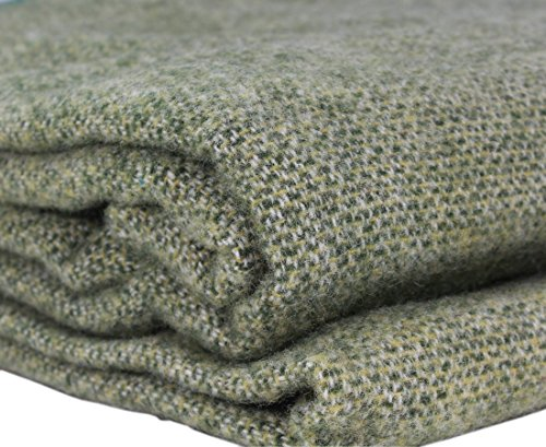 "Kerry Woollen Mills Irish 100% Wool Blanket, Lichen Green - 90"" by 108"""