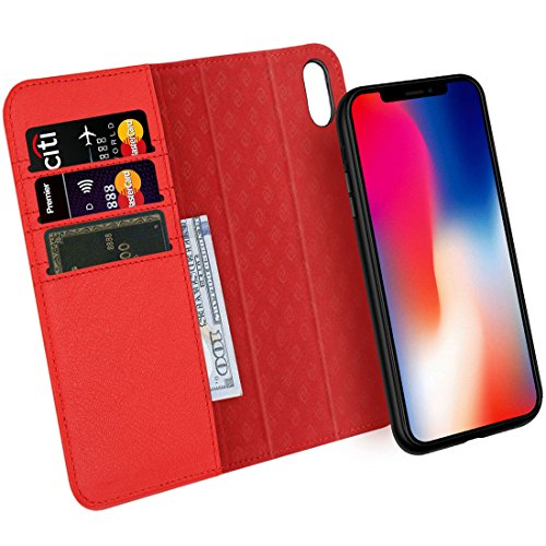 Zover Compatible with iPhone Xs/X Case Detachable Genuine Leather Wallet Case Support Wireless Charging Magnetic Car Mount Holder Kickstand Feature Magnetic Closure Gift Box Red