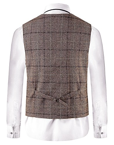 "Hanayome Men Waistcoat Collar Sleeveless Slim Fit Jacket Business Suit Vests VS30,Brown 1,L(US Tag Chest 44"" Waist 38"")"