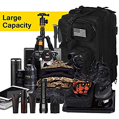 CVLIFE Military Tactical Molle Backpacks 3 Day Assault Pack Bag Army Rucksacks for Outdoor Hiking Camping Fishing Hunting with Tactical Flag Patch
