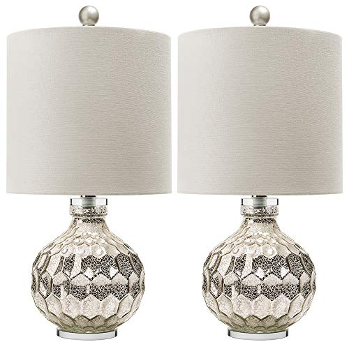 2 x Silver Hexagon Mercury Glass Table Lamp With White Linen Drum Shade,Hand Crafted Elegant Bedroom Lamps For Nightstand Set Of 2,19