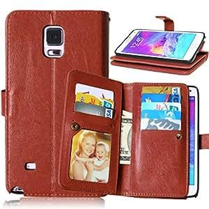 TOMYOU Carcasa para Samsung Galaxy Note 4 N9100-Funda de piel sintética con tapa, cable incluido Syncwire Marco de fotos [], [], [] y Bolso de mano tipo libro con función atril para Samsung Galaxy Note 4 N9100 () marrón