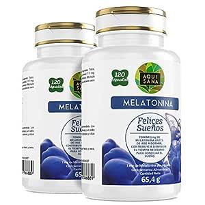 Melatonina Aquisana- Ayuda a descansar – Valeriana - Tila – Sueño – Libre de Alérgenos-240 cápsulas
