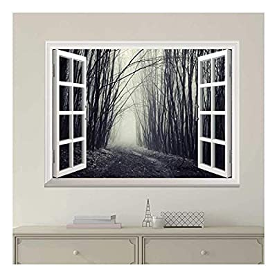 Dazzling Portrait, Crafted to Perfection, White Window Looking Out Into a Dark Foggy Branch Forest Wall Mural