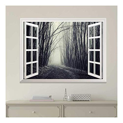 Modern White Window Looking Out Into a Dark Foggy Branch Forest - Wall Mural, Removable Sticker, Home Decor - 24x32 inches