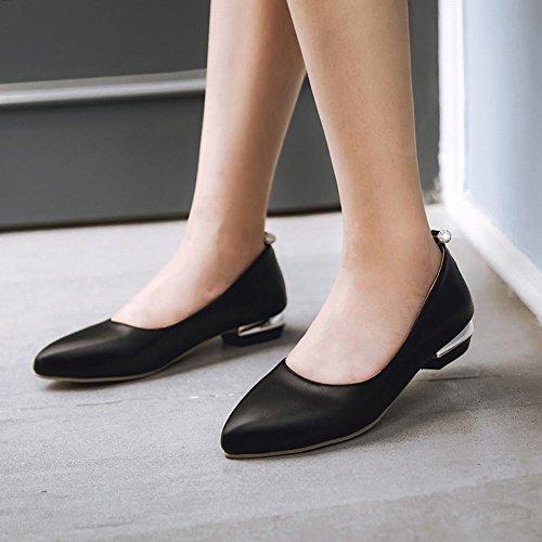 Mee Shoes Damen bequem Geschlossen Niedrig Pumps Schwarz