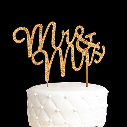 Mr and Mrs Cake Topper Anniversary Gold Crystal Rhinestone Party Decoration Gold -