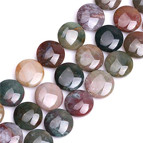 - Indian Agate Beads for Jewelry Making Natural Semi Precious Gemstone 20mm Coin Strand 15