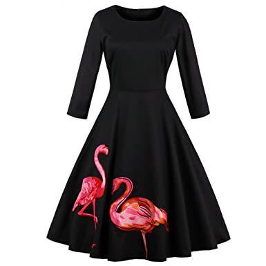 Molif Flamingo Print Embroidery Dress Women 50S Rockabilly Autumn Robe A-Line Party Dresses Vestidos at Amazon Womens Clothing store: