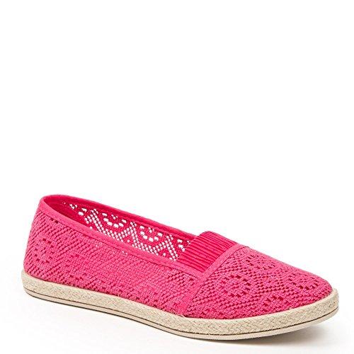 Ideal Shoes–Espadrilles in Haken Majoran Rot - Fuchsia