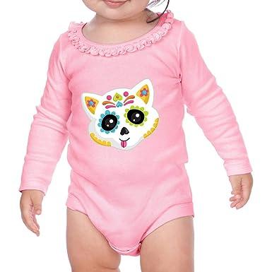 334c1504 Amazon.com: Cat Face Sugar Skull Long Sleeve Scoop Neck Girl Baby Ruffle  Bodysuit: Clothing