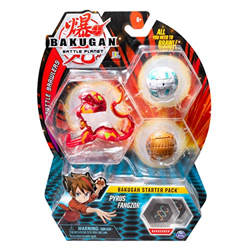 Bakugan Pack Character - Bakugan Starter Pack 3 Pack, Pyrus Fangzor, Collectible Transforming Creatures, for Ages 6 & Up