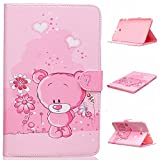 Galaxy Tab E 9.6 Case,Veggzy® Cute Bear Design Premium PU Leather+Silicone Bumper Flip Folio Stand Wallet Protective Cover with [Kickstand]Card Slots Pocket for Galaxy Tab E/Tab E Nook 9.6 Inch T560