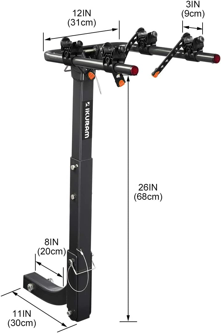 IKURAM 2 Bike Rack Bicycle Carrier Racks Hitch Mount Double Foldable Rack for Cars Trucks SUVs and minivans with a 2 Hitch Receiver