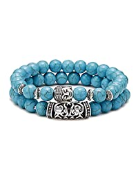 2PCS Lava Rock Turquoise Tiger Eye White Howlite Beads Bracelet Buddha Head Prayer Reiki Meditation Bracelet