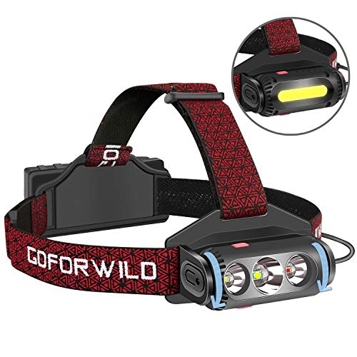 GOFORWILD Headlamp, Brightest LED Work Headlight, 18650 USB Rechargeable Waterproof Flashlight with Work Light, Head Lights for Camping, Hiking, Outdoors