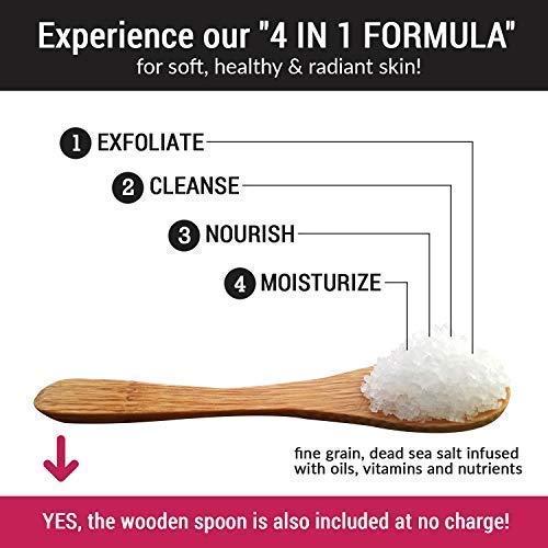 Premium Organic Body Scrub Set - Large 16oz COCONUT BODY SCRUB - Pure Dead Sea Salt Infused with Organic Essential Oils & Nutrients + FREE Wooden Spoon, Loofah & Mini Organic Exfoliating Bar Soap by pureSCRUBS (Image #3)