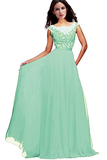 Vimans® Womens Long Mint Beaded Lace Chiffon Prom Dresses for Bridesmaid