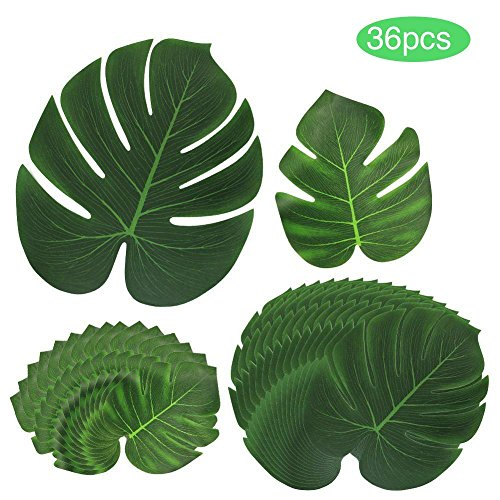 CILLAZ Tropical artificial leaf Hawaii palm leaves For luau theme Party Decorationsilk green 3 size leaves 36pcs by CILLAZ