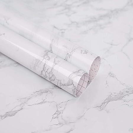 Papier Adhesif Pour Meuble De Marbre Gris Blanc 40cm X 2m Papier