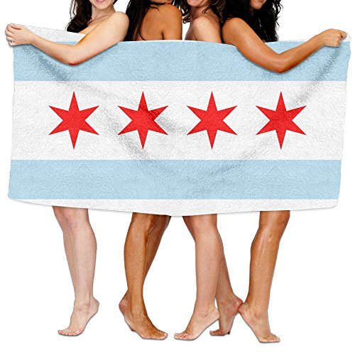 "Beach Towel Flag Of Chicago 80"" X 130"" Soft Lightweight Abso"