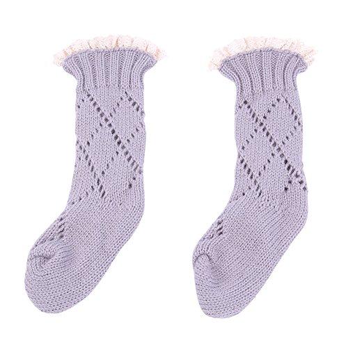 Alamana Winter Baby Kids Toddler Lace Top Decor Soft Knee High Leg Warmer Knitting Socks size M (Grey)