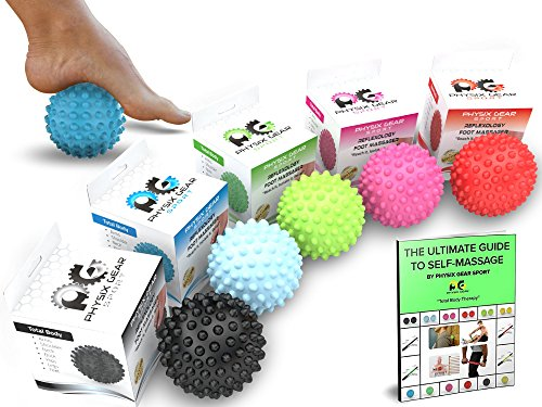 Price comparison product image Physix Gear Sport Massage Balls - Best Spiky Ball Roller for Plantar Fasciitis Trigger Points Neck & Back Pain Relief - Deep Tissue Rehab Reflexology Acupressure - Reach Areas Foam Rollers Can't (BLU)