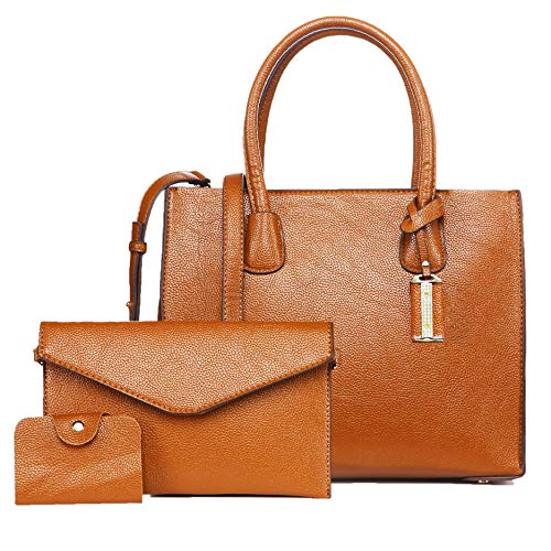 Satchel Purses and Handbags for Women Designer Top Handle Bags 3pcs Set Tote Shoulder Bag (Brown)