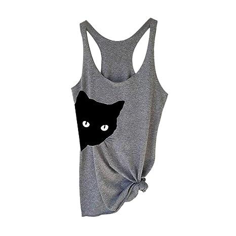 ❤️ Camisas Mujer,Modaworld Moda Blusa sin Mangas con Estampado ...
