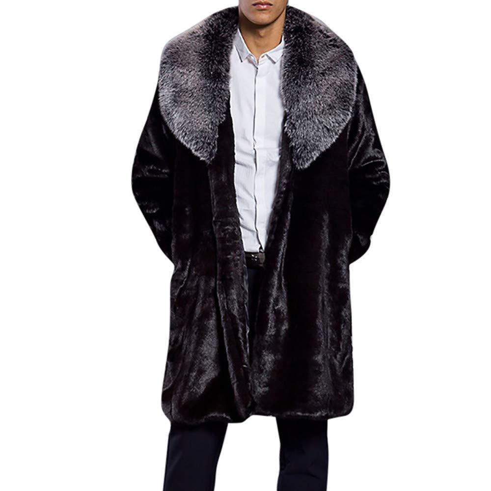 iMakcc Fashion Mens Warm Thick Fur Collar Coat Jacket Faux Fur Parka Outwear Cardigan Tops (L, Gray)