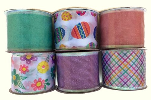 Wire Ribbon Spool (Wire-edged Easter Spring Ribbon, Assorted Designs and Pastel Colors, 6-spool Set)