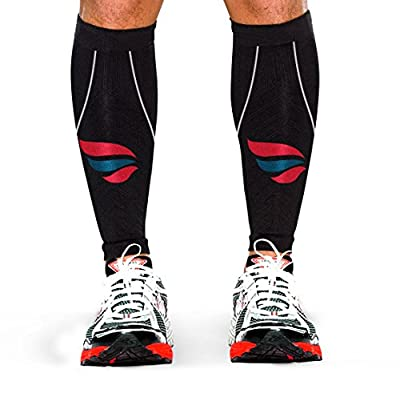 Runners Calf Compression Sleeve (Pair) - Shin Splint and Calf Pain Relief - Mens and Womens High Performance Athletes and Joggers Calf Guard - Increase Muscular Endurance - Accelerate Recovery - Great for Running , Crossfit, Sports, Basketball, Cycling, T