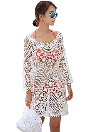 Mujer Color Crema de manga larga túnica de playa para vestidos de encaje de ganchillo playa