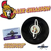 "ALEX CHIASSON Signed OTTAWA SENATORS Puck w/COA ""NEW"" #1 - Autographed NHL Pucks"
