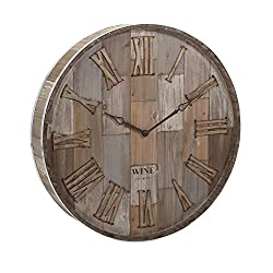 IMAX 83457 Wine Barrel Wood Wall Clock, Natural