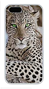 Unique iPhone 5S Pc White Edge Case - Leopard Personalized iPhone Cover