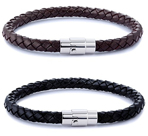 Braided Black Leather Bracelet (FIBO STEEL 2PCS Stainless Steel Braided Leather Bracelet for Men Women Wrist Cuff Bracelet 7.5 inches)
