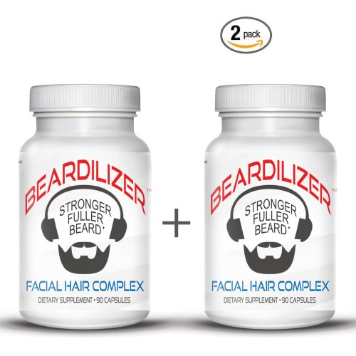 Beardilizer ® - #1 Facial Hair and Beard Growth Complex for Men - 90 Capsules Powerful Nutrients Blend - VALUE PACKS - Trends Facial Hair Mens