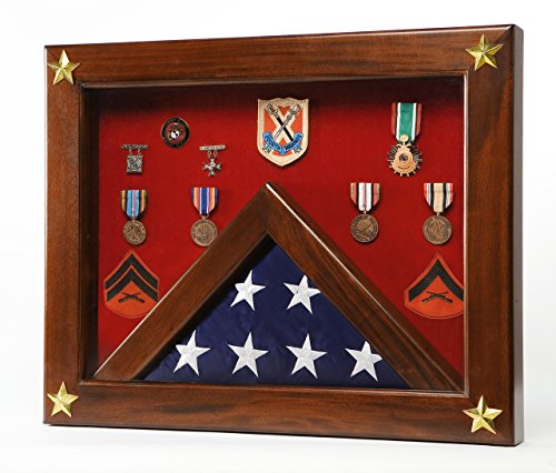 Shadow Box with Display Case for 3 by 5 feet Flag