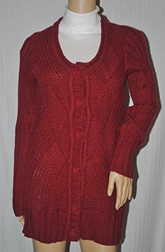 Fever Women's Scoop Neck Basketweave Cardigan Claret Red Medium
