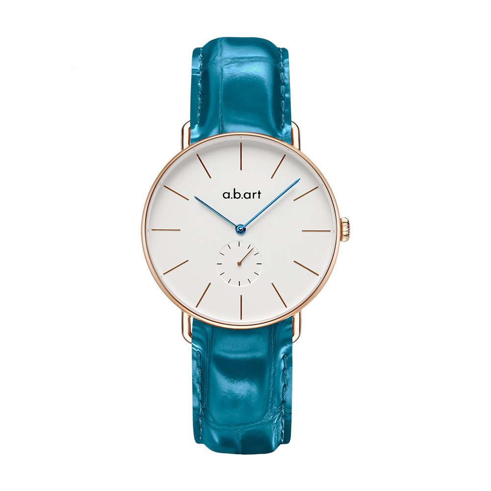 a.b.art FR36-001-16L Crack Oily Calf Light Blue Leather Lady Business Wrist Watches