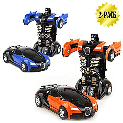 Pull Back Cars, XHAIZ Transformers Vehicle Toy for Boys, Bumblebee, One-Step Changer, 2-pack