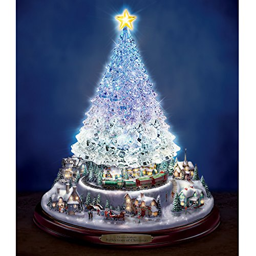 Amazon.com: Thomas Kinkade Crystal Tabletop Christmas Tree: Lights ...