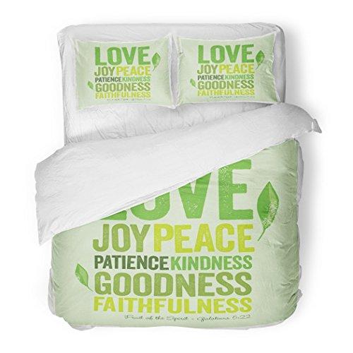 SanChic Duvet Cover Set Green Fruit-Shirt Vintage Christian Design ï¿ Fruit of the Spirit Faith Joy Decorative Bedding Set with 2 Pillow Shams Full/Queen Size by SanChic