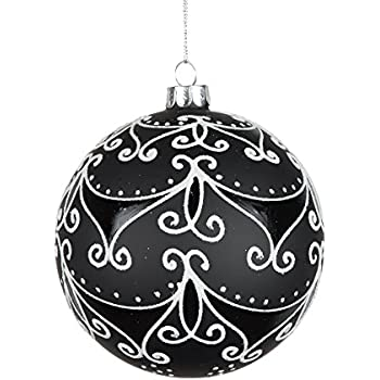 vickerman 506974 4 black mattewhite swirls glass ball christmas tree ornament e170901