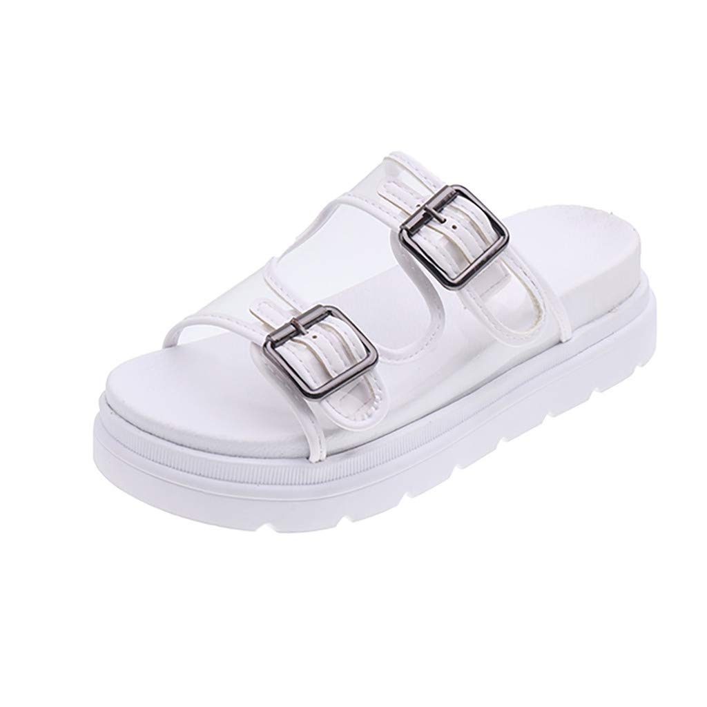 Fastbot Women's Sandals Square Heels Shoes Hollowing Out PVC Round Toe White