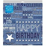 The Home Fusion Company 2 Sheets of Denim Blue Birthday Gift Wrap Wrapping Paper,Card & 2 Gift Tags