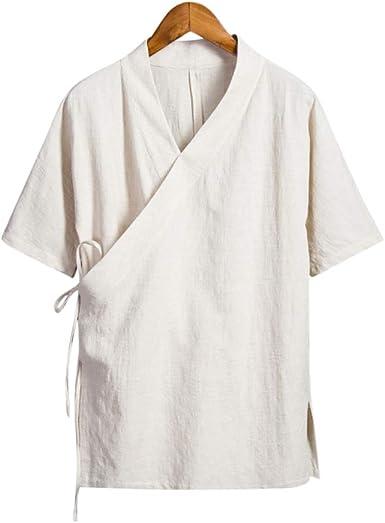 Camisa de Hombre Casual de Mangas Cortas Hecha a Mano en algodón o Lino #105
