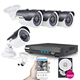 TECBOX Home Security Camera System 4 Channel 720P AHD 500GB Hard Drive Preintalled DVR Recorder with 4 HD 1.3MP Waterproof Night vision Indoor/Outdoor CCTV Surveillance Camera